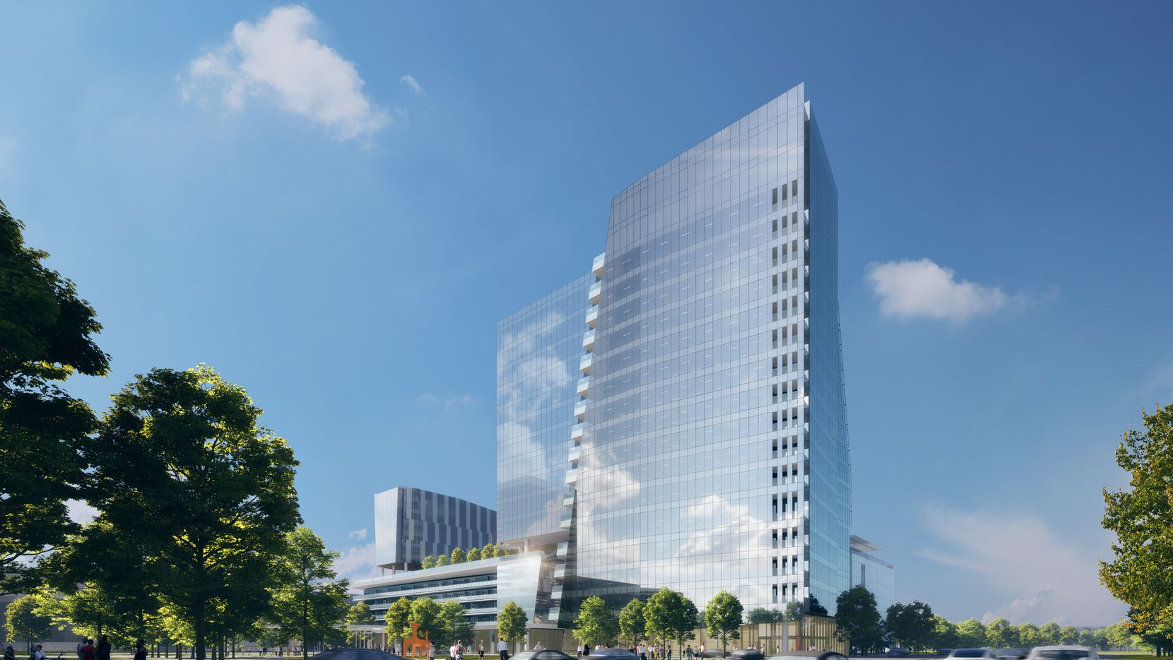 Developer Hall Group plans to break ground next month on a Frisco office tower that will be part of a new mixed-use project in its Hall Park.