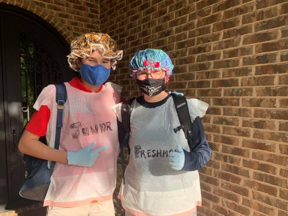 Although they take the coronavirus threat seriously, the Cashen family kids have a little fun before going off to school. Donovan (left) is a junior, and his sister Camille is a freshman, both at Denton Guyer High School. Here's their take on modern day schooling.