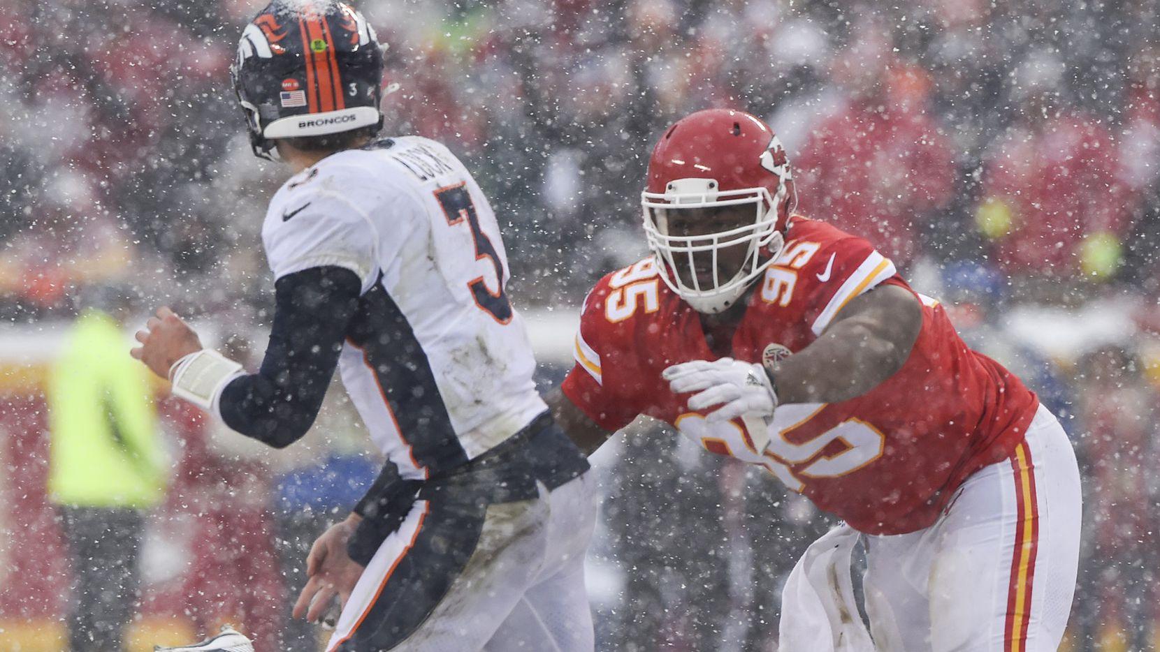 Kansas City Chiefs defensive end Chris Jones rushes Denver Broncos quarterback Drew Lock in the second half Sunday, Dec. 15, 2019 at Arrowhead Stadium in Kansas City, Mo. (Tammy Ljungblad/Kansas City Star/TNS)
