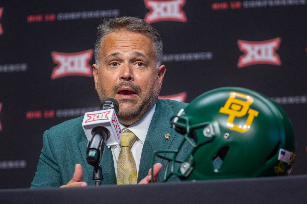 Baylor University head football coach Matt Rhule speaks at a press conference during the Big 12 Conference Media Days event at the AT&T Stadium in Arlington, Texas, Tuesday, July 16, 2019.