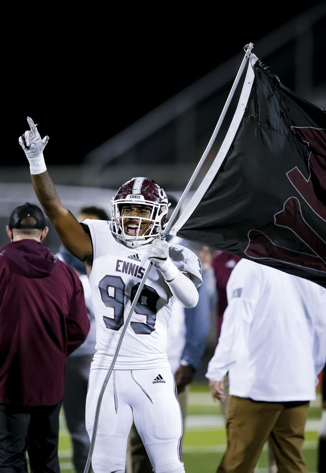 Ennis senior defensive lineman Deryous Stokes celebrates a 38-14 win over North Forney after a high school playoff football game in Forney, Thursday, November 19, 2020. (Brandon Wade/Special Contributor)