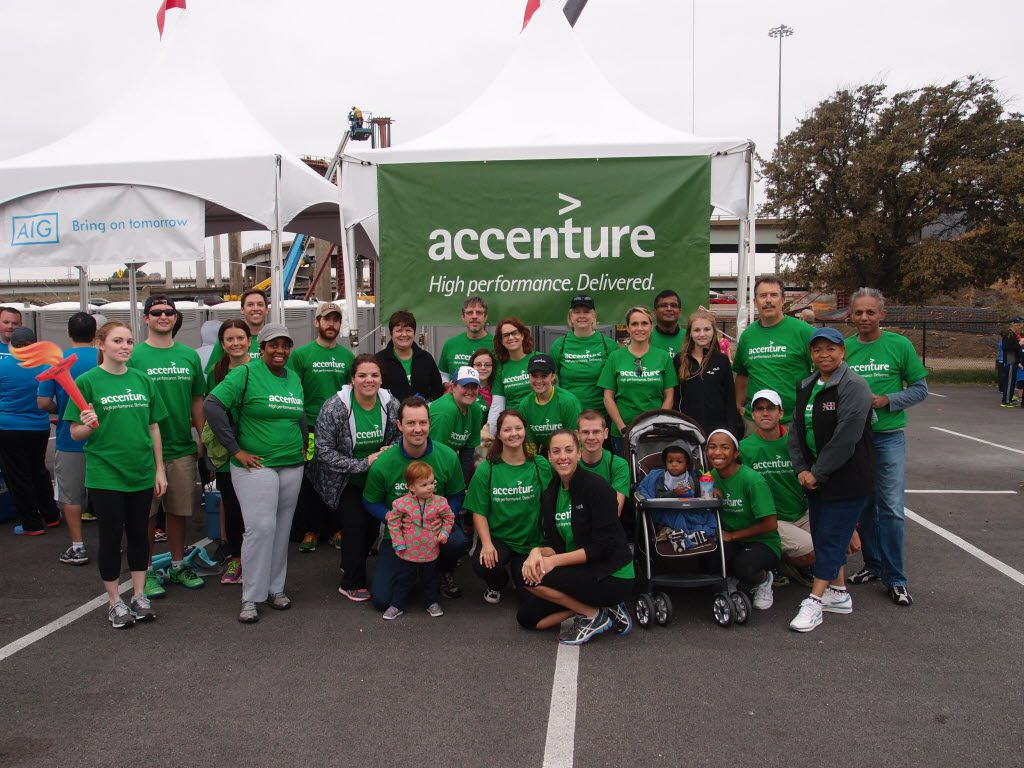 More than 50 people joined the Accenture team at one of the previous American Heart Association Heart Walks.