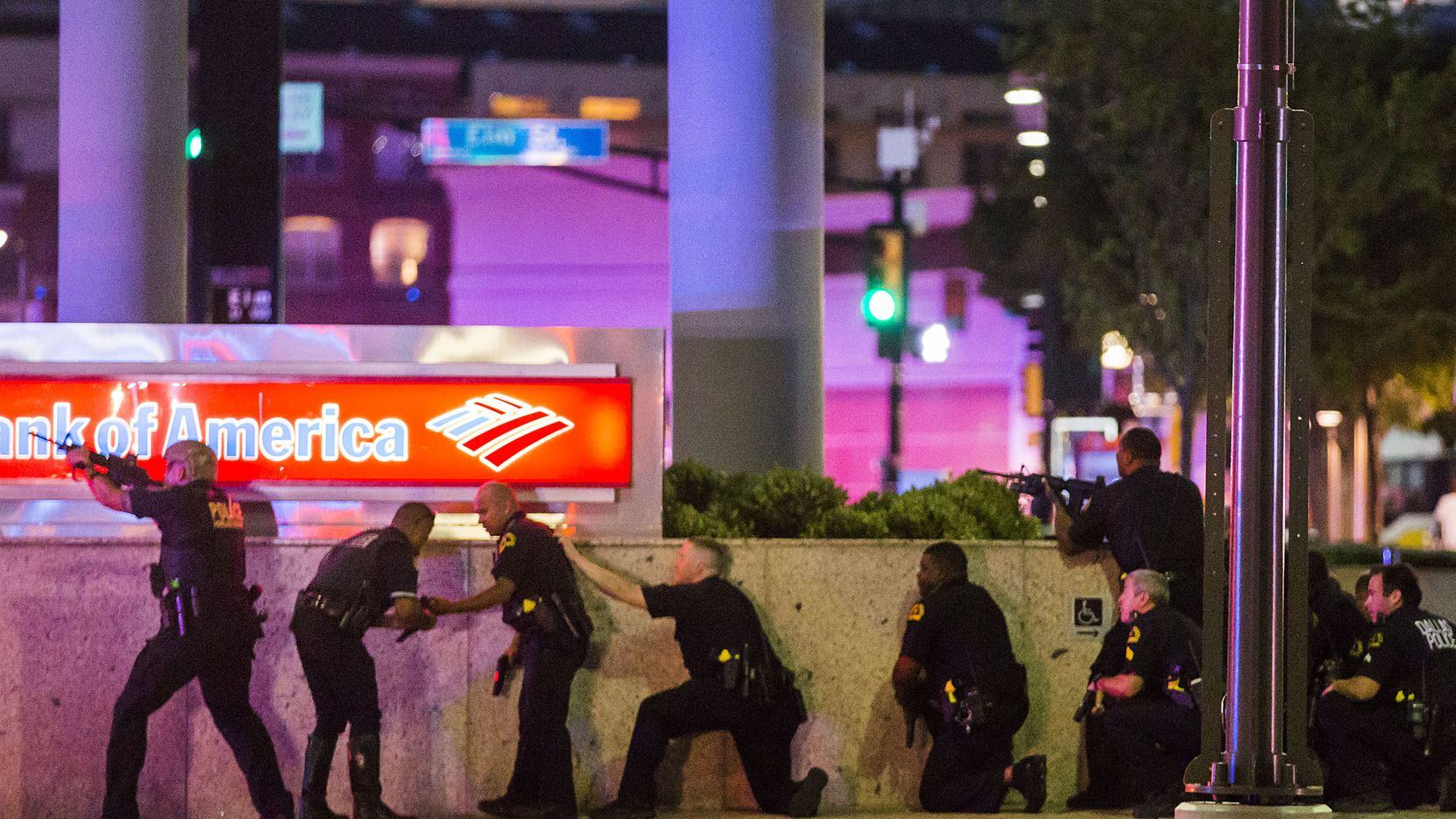 Dallas police respond after shots were fired at the protest in downtown Dallas.