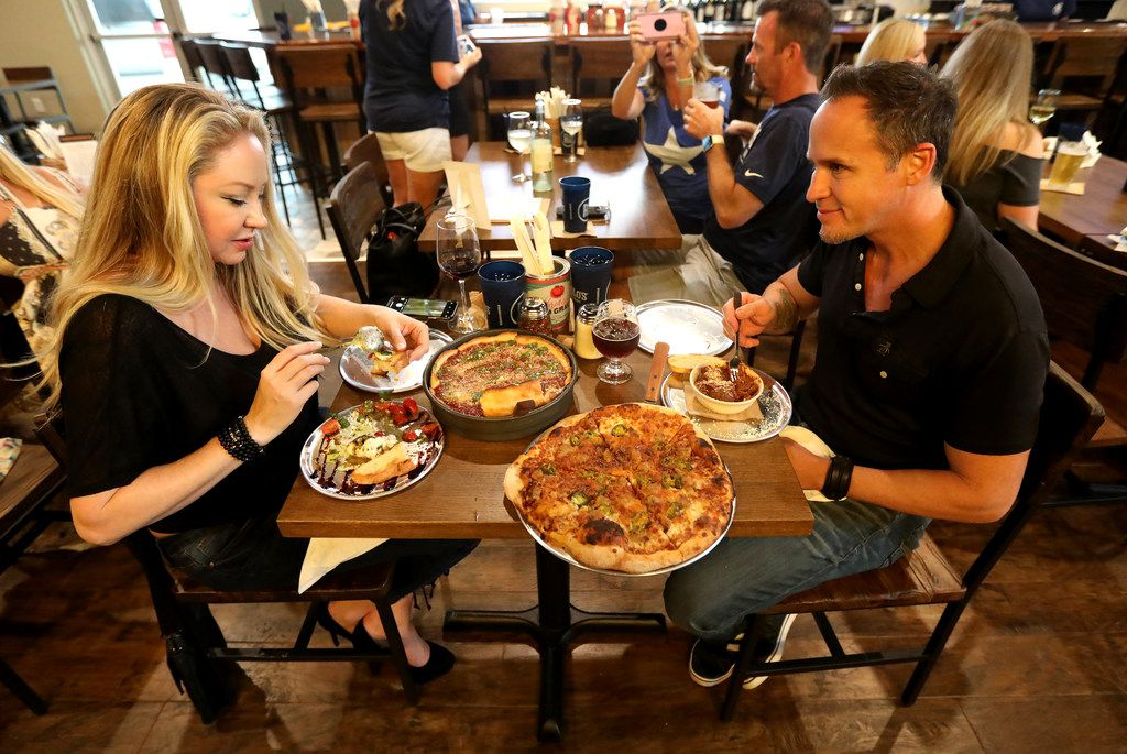Melissa and Scott Saylor during the 'friends and family' dinner at the new restaurant, Rotolo's Craft & Crust, in Frisco, Texas Saturday, Sept. 29, 2018. (Anja Schlein/Special Contributor)