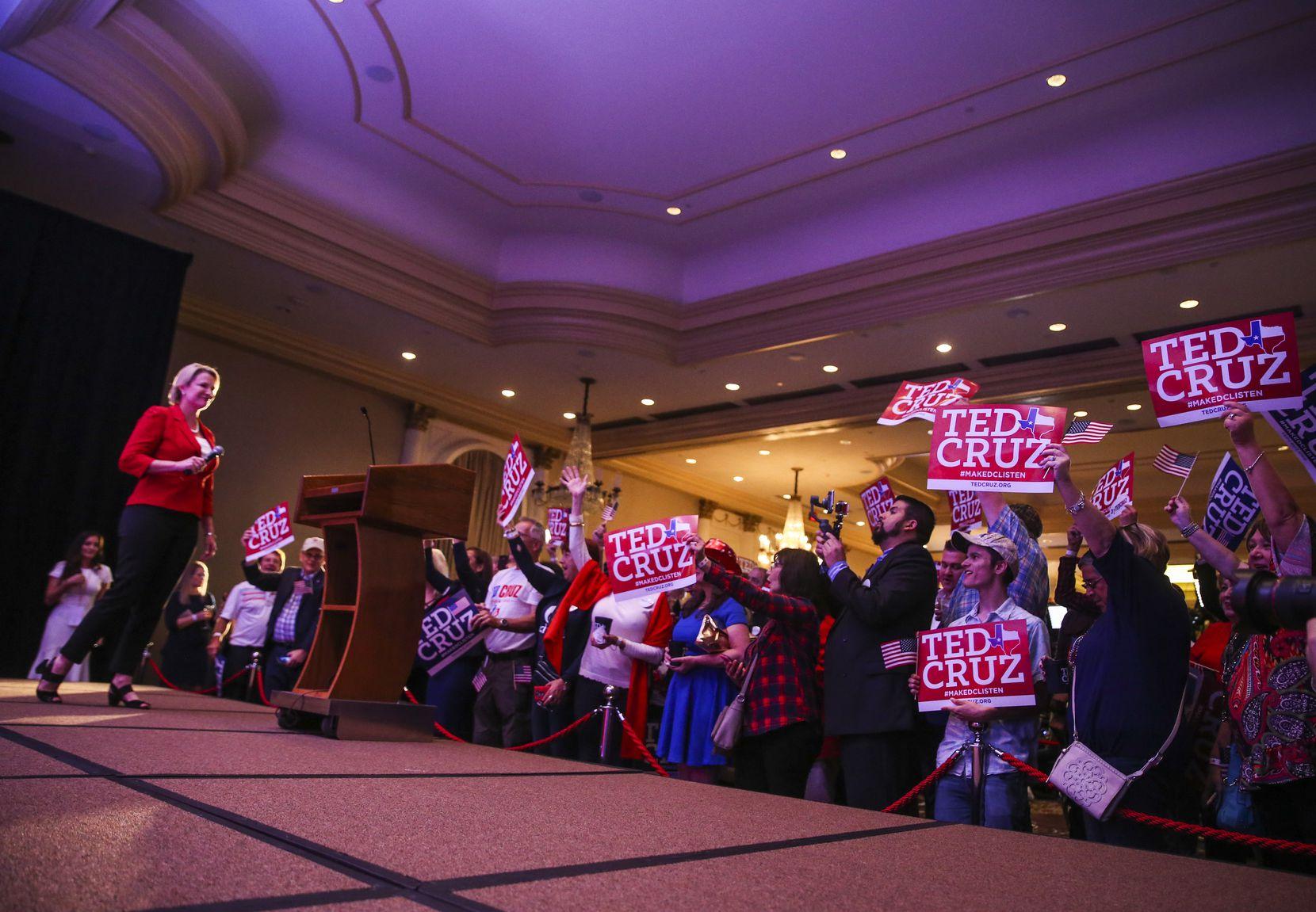 State Sen. Dawn Buckingham spoke during an election night party for Sen. Ted Cruz at the Hilton Post Oak in Houston. (2018 File Photo/Ryan Michalesko)