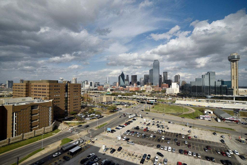 A view of downtown Dallas seen from the Jesse R. Dawson State Jail