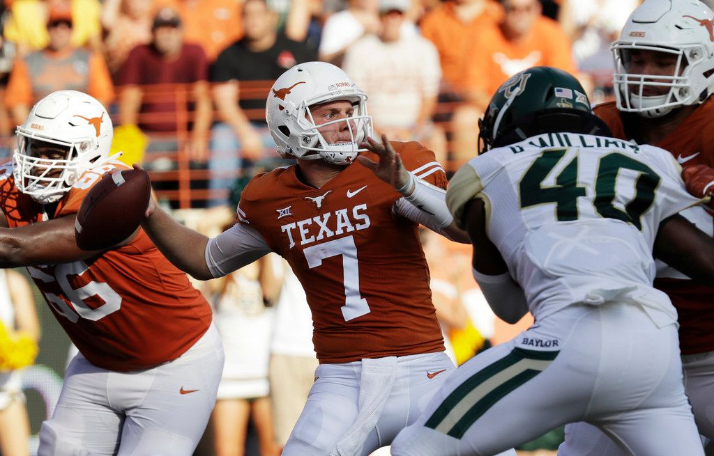 Shane Buechele replaced an injured Sam Ehlinger in Texas' win over Baylor this past season. (AP Photo/Eric Gay, File)