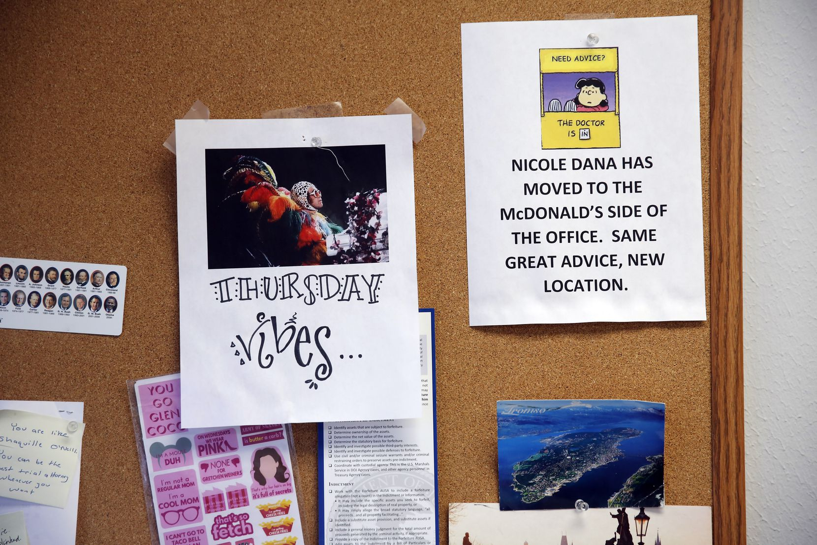 """When Nicole Dana changed offices and moved into a space that overlooks a downtown Dallas McDonald's, a colleague coopted a well-known Lucy image to note: """"Same great advice. New location."""" The poster is now one of many bits of memorabilia that Nicole keeps on her office bulletin board."""