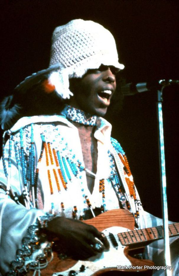 Sly Stone performs with Sly and the Family Stone at the Texas International Pop Festival, held on Labor Day weekend, 1969, at the Dallas International Speedway in Lewisville, Texas.