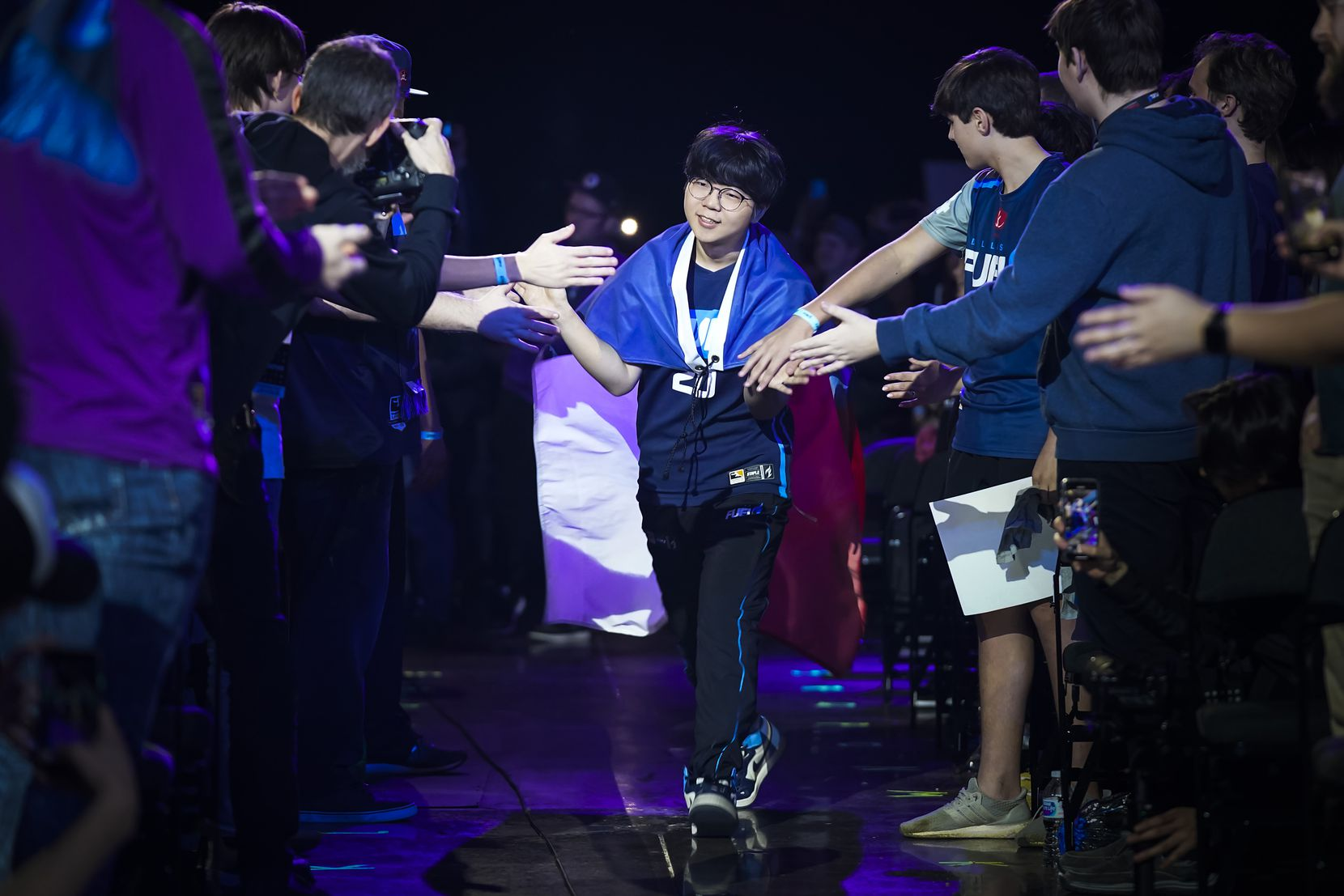 "Kim ""DoHa"" Dong-ha of the Dallas Fuel is introduced before the start of a Overwatch League match against the Los Angeles Valiant at the Arlington Esports Stadium on Saturday, Feb. 8, 2020, in Arlington."