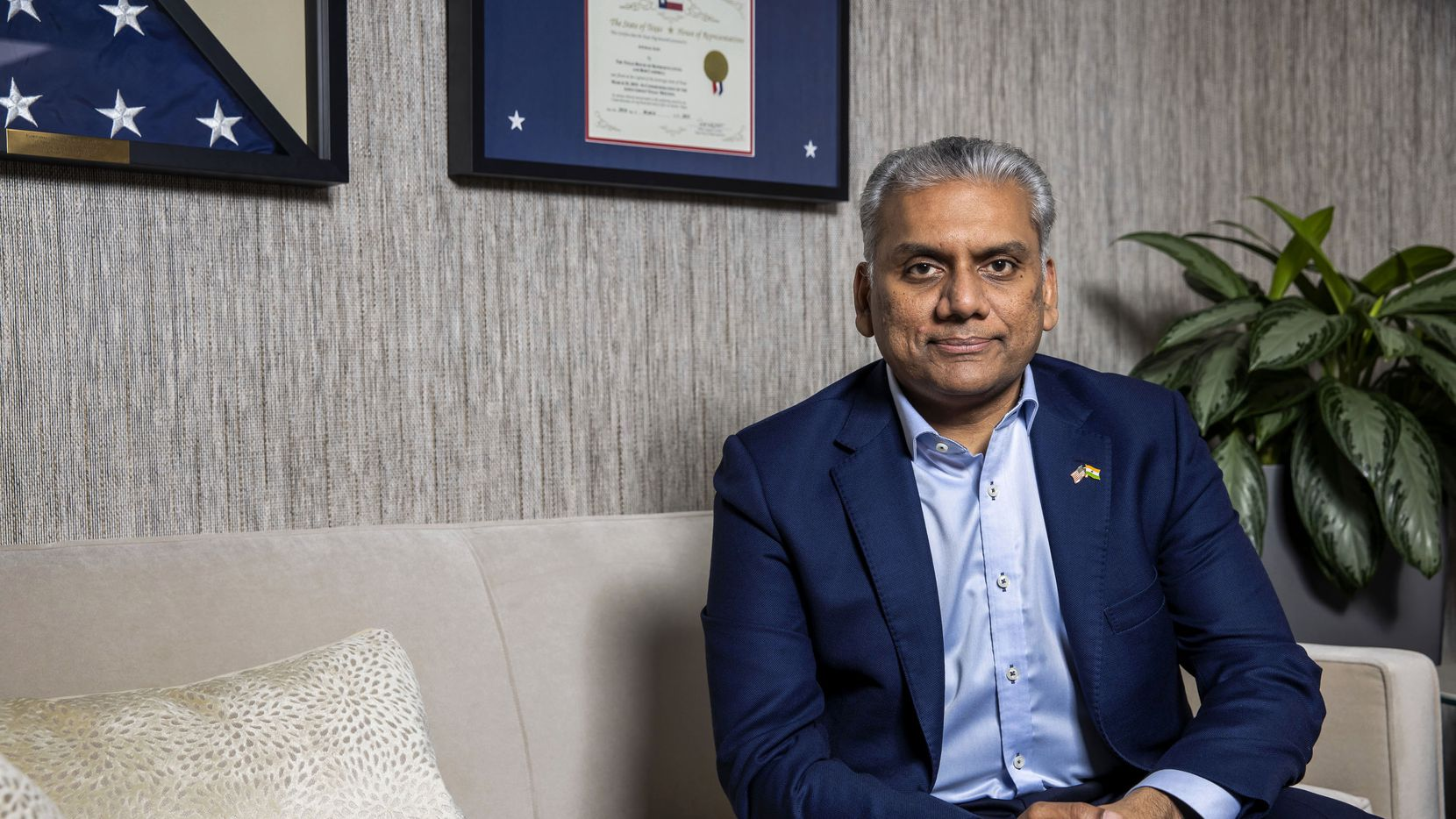 """Access Healthcare Chairman Anurag Jain poses for a portrait at his office in Dallas on Monday, May 17, 2021. Jain traveled to India in April to visit his critically ill mother, who had contracted the novel coronavirus at the beginning of what would soon become the second wave of COVID-19 in his home country. Since returning, Jain has worked with partners to send 3,200 oxygen concentrators to India and is arranging a shipment of 1,700 more. """"People around the world have been incredibly generous,"""" he said. """"The human spirit comes alive in times like this."""""""