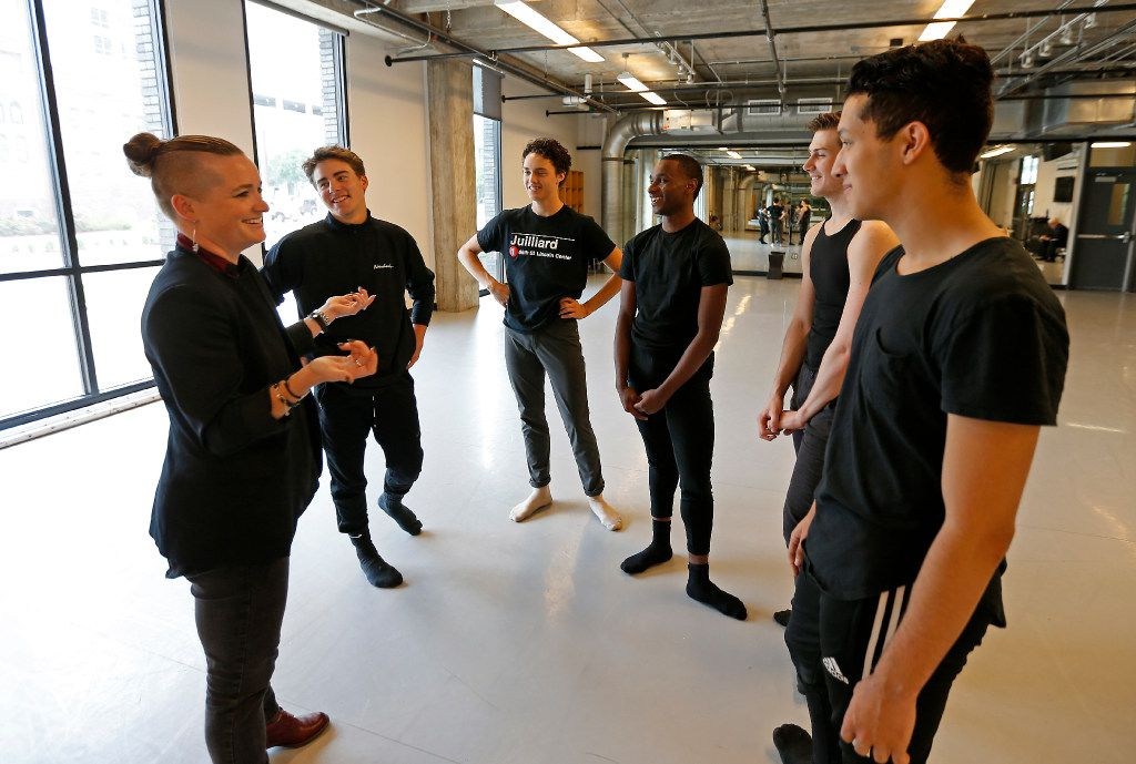 Kate Walker (left), Dance Cluster Coordinator, talks with her students Zane Unger (clockwise from her left), Kade Cummings, Ricardo Hartley, Todd Baker and Michael Garcia in the dance studio at Booker T. Washington High School for the Performing and Visual Arts in Dallas, Thursday, May 11, 2017. They have been accepted to attend the Juilliard School in New York City.