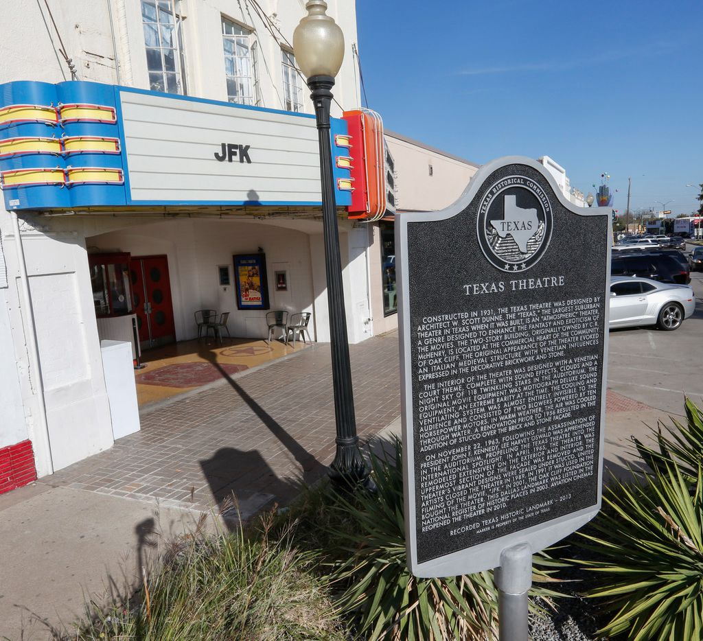A new Texas Historical Commission marker at the Texas Theatre in the Oak Cliff area of Dallas was installed on Wednesday, November 22, 2017. The marker was replaced to correct historical accuracies on the 54th anniversary of President John F. Kennedy's assassination.  (Ron Baselice/The Dallas Morning News)
