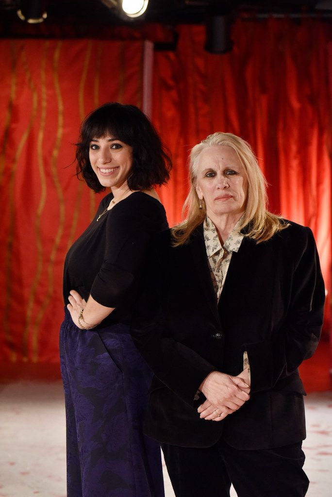 """Co-directors Danielle Georgiou (left) and Katherine Owens take part in a dress rehearsal for """"So Go the Ghosts of Mexico, Part Three."""""""
