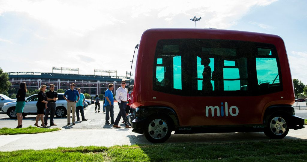 Passengers can ride a free driverless shuttle, called Milo, in Arlington's entertainment district. The shuttle service operates on private roads, but the city is considering expanding it to public ones.