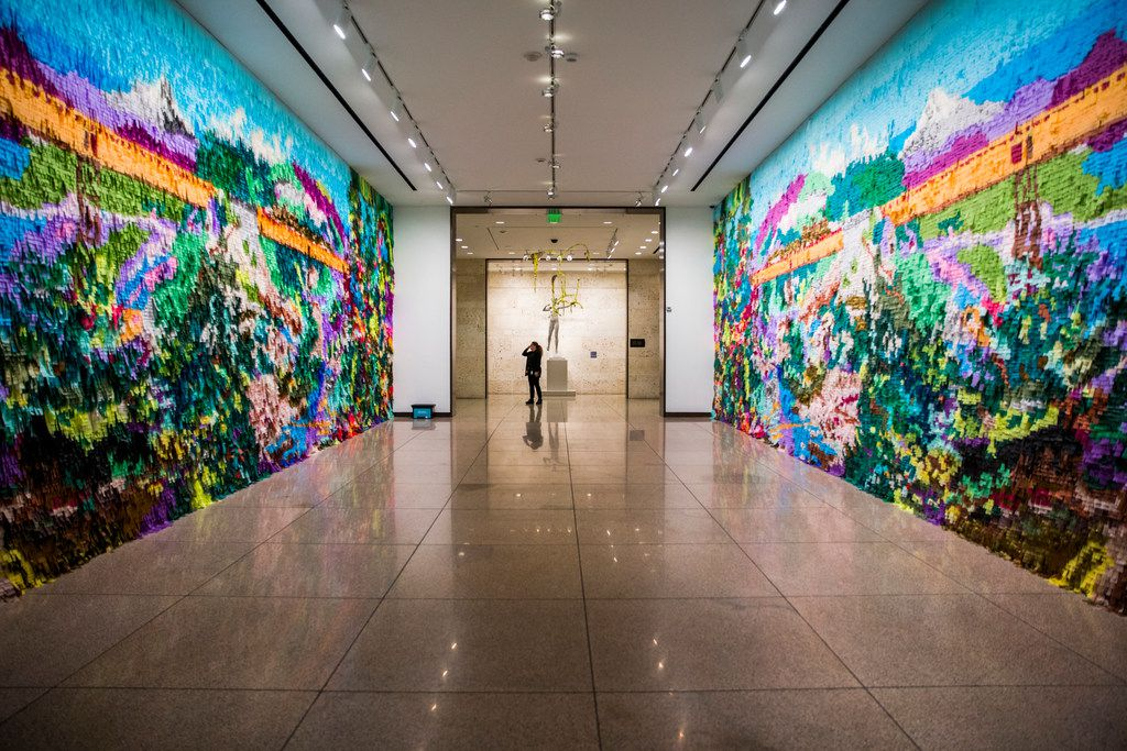 Puente Nuevo by Justin Favela is on display in the hallway on the first floor of the Amon Carter Museum of American Art in Fort Worth. The museum recently underwent renovations.