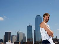 Dallas Mavericks forward Dirk Nowitzki (41) poses for a portrait in downtown Dallas on Friday, October 6, 2017. Nowitzki is gearing up to start his 20th season with the Dallas Mavericks.