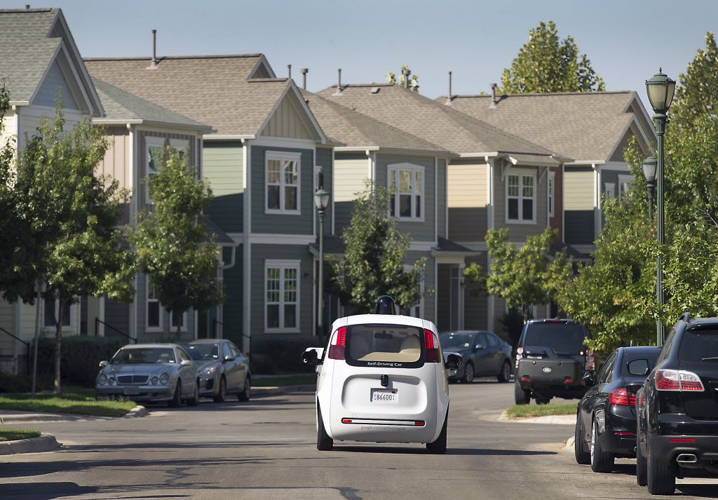 Google's self-driving car tours the Mueller Housing Development in Austin.