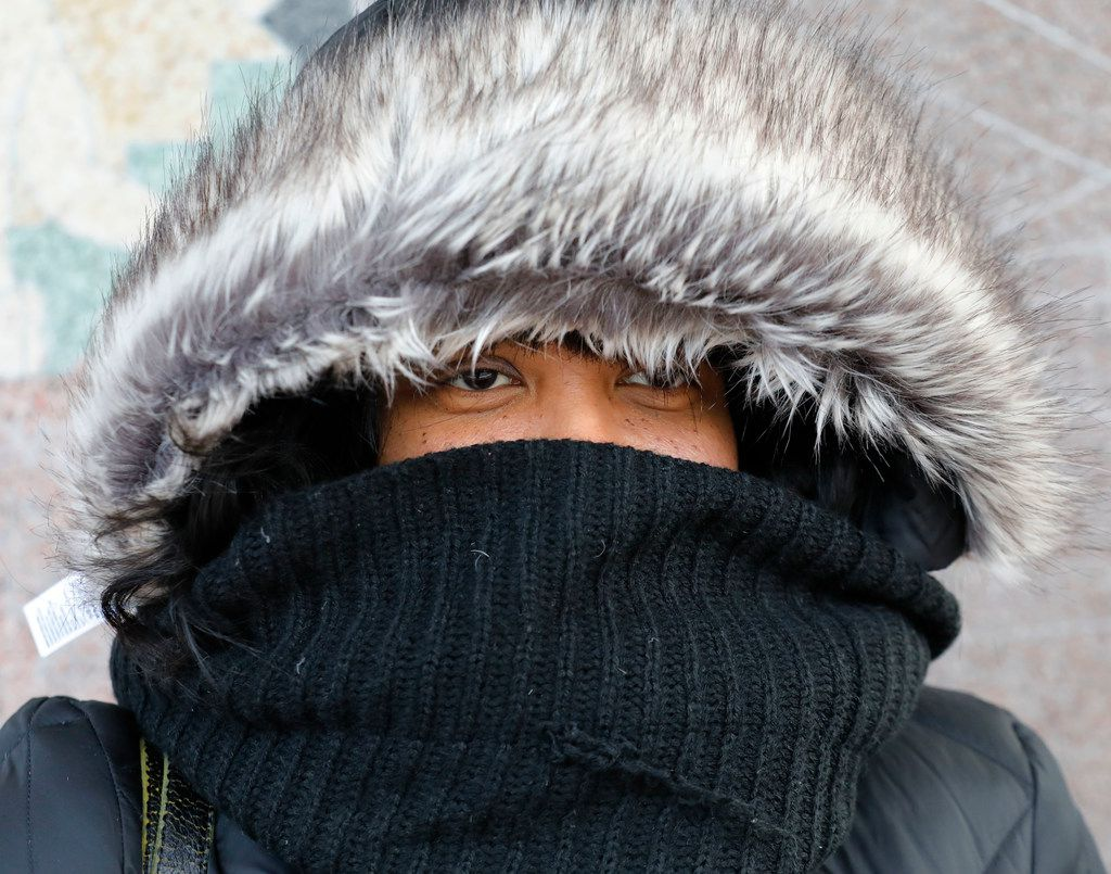 Denise Jenkins of Grand Prairie braved the frigid weather at Union Station in downtown Dallas on Tuesday.