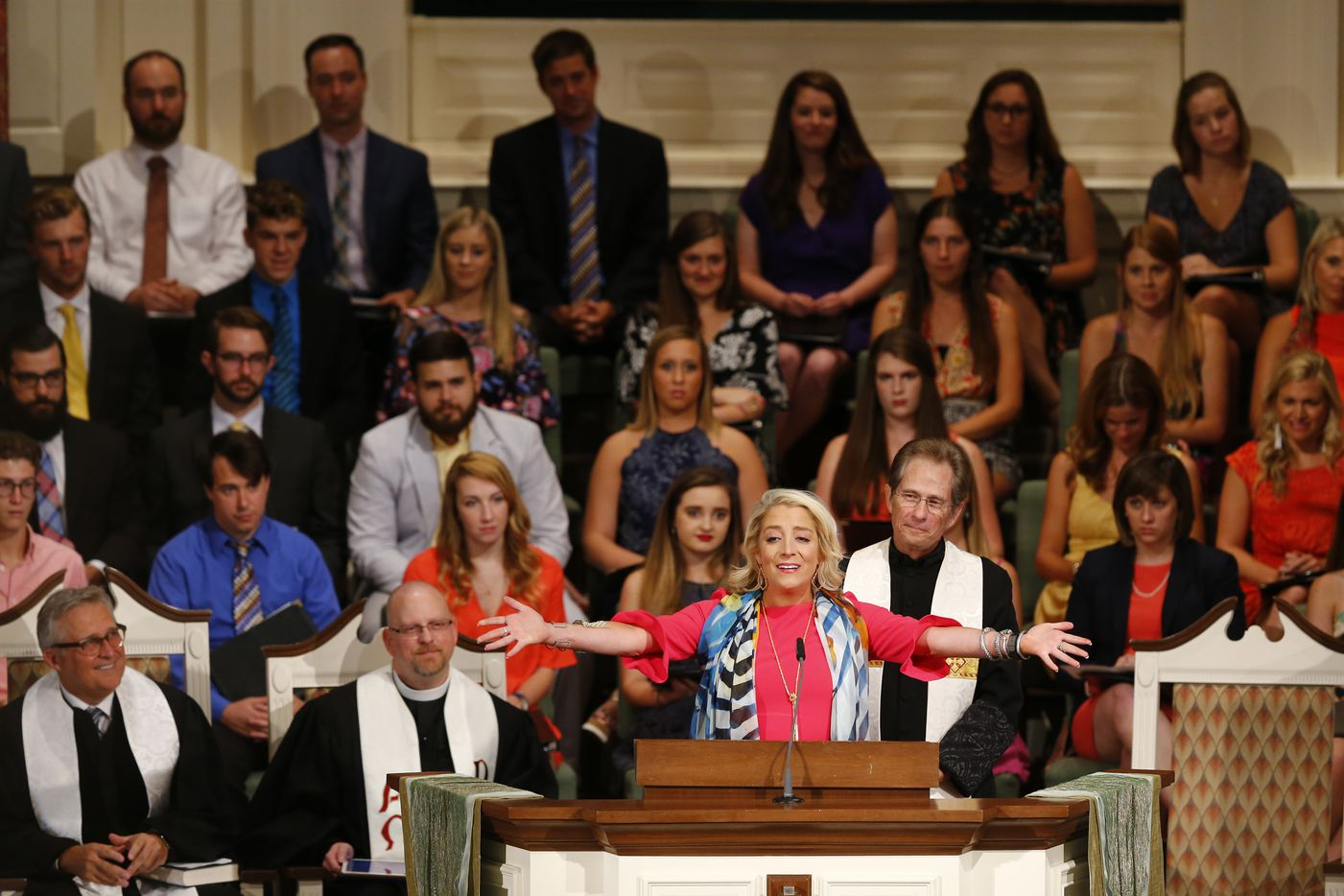 Jennifer Thompson speaks during the funeral for her mother, Vickie Thompson, at Wilshire Baptist Church.