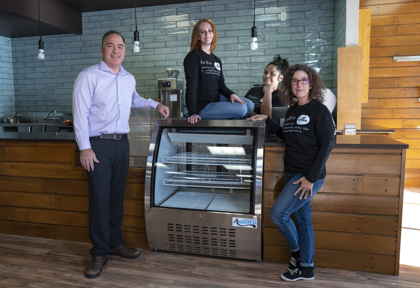 Co-presidents Michael Huscheck (far left) and Natalie Huscheck (far right), with two of their baristas, Natasha Weir (top center) and Maricela Espinosa, are opening Well Grounded Coffee Community in Dallas in mid-December 2020. Well Grounded is a nonprofit shop that employs formerly incarcerated women from Exodus Ministries.