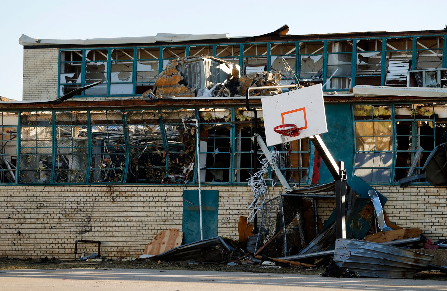 The backside of Cary Jr. High School took a direct hit with flying debris from the tornado in Dallas, Monday, October 21, 2019. (Tom Fox/The Dallas Morning News)
