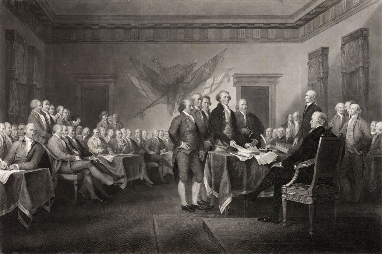 The signing of the Declaration of Independence.