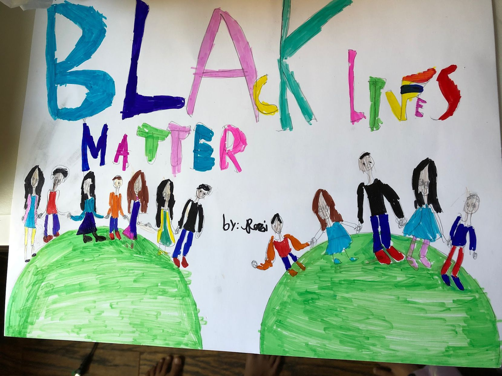 This artwork by Rozina Lakhani, third grade, was created to recognize the Black Lives Matter movement.