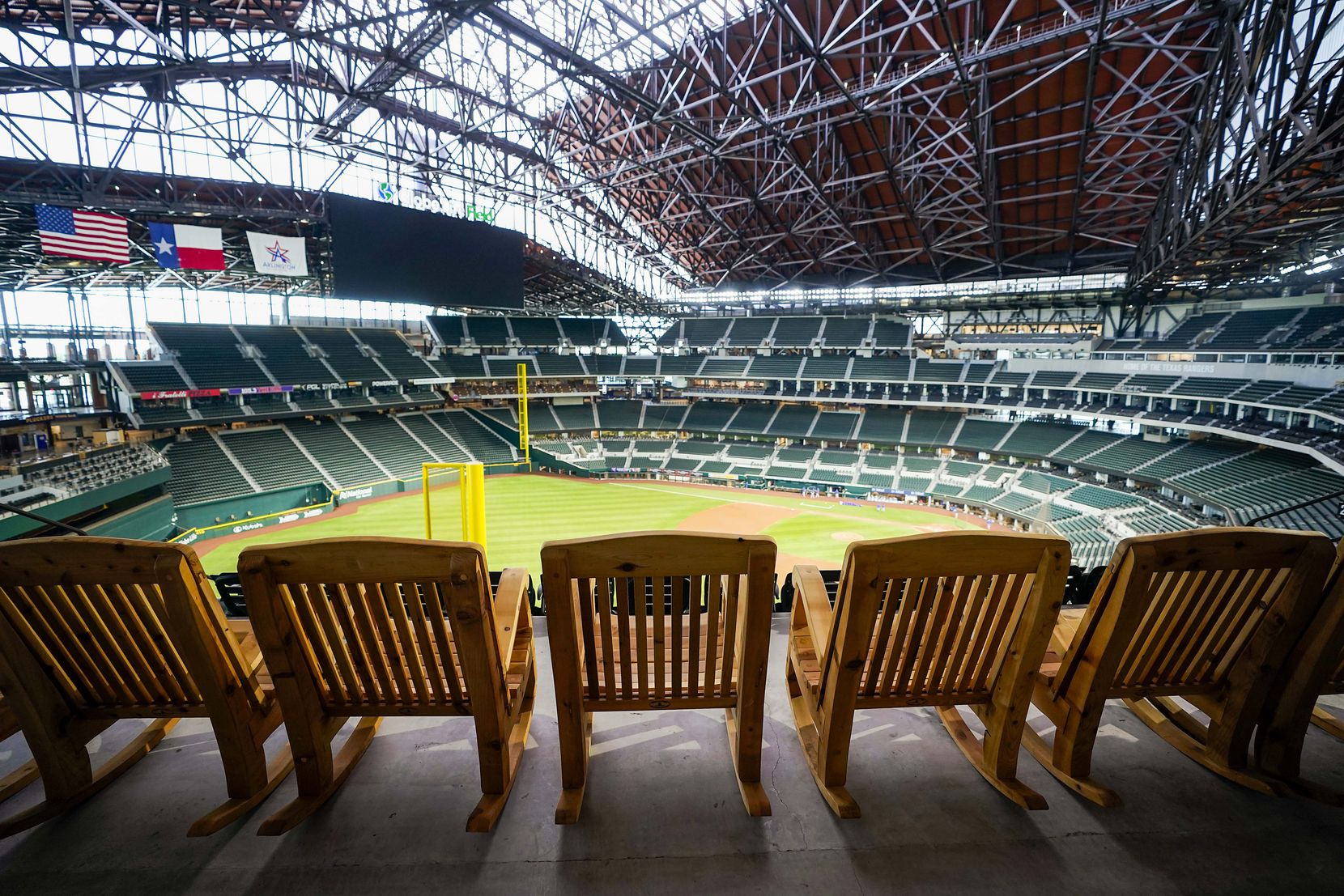 As the baseball season gets underway, the Sky Porch rocking chairs and, well, all other fan seats at Globe Life Field will be vacant as teams play in empty stadiums.