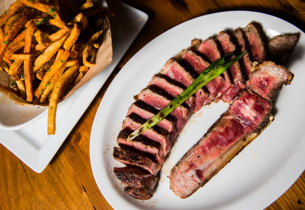 """""""The Brick"""" – a 24-ounce, 45-day dry-aged strip steak at Town Hearth  (Ashley Landis/The Dallas Morning News)"""