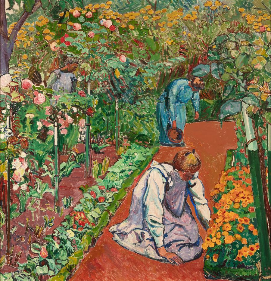 Cuno Amiet, Women in the Garden, 1910, oil on canvas, 33 13/16 x 50 3/4. Courtesy of the Barrett Collection