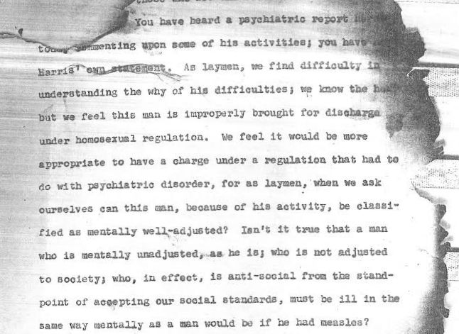 An excerpt from the charred remains of George Harris' Jan. 20, 1956 hearing