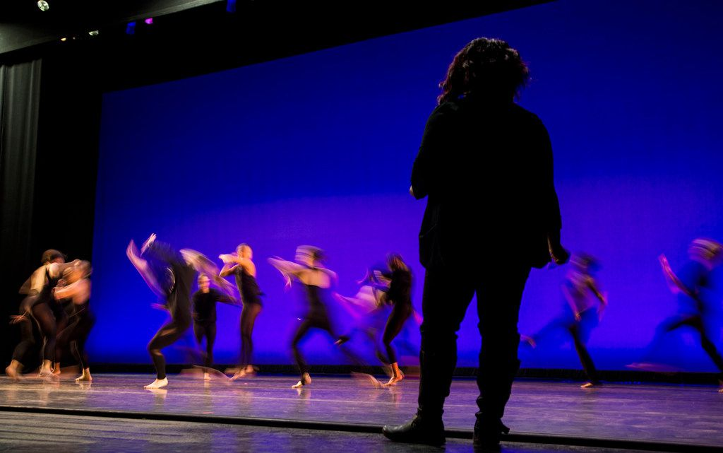 Choreographer Bridget L. Moore watches Southern Methodist University students rehearse her new dance work, Simply, Eartha, which premieres Oct. 24-28 at the SMU Fall Dance Concert.