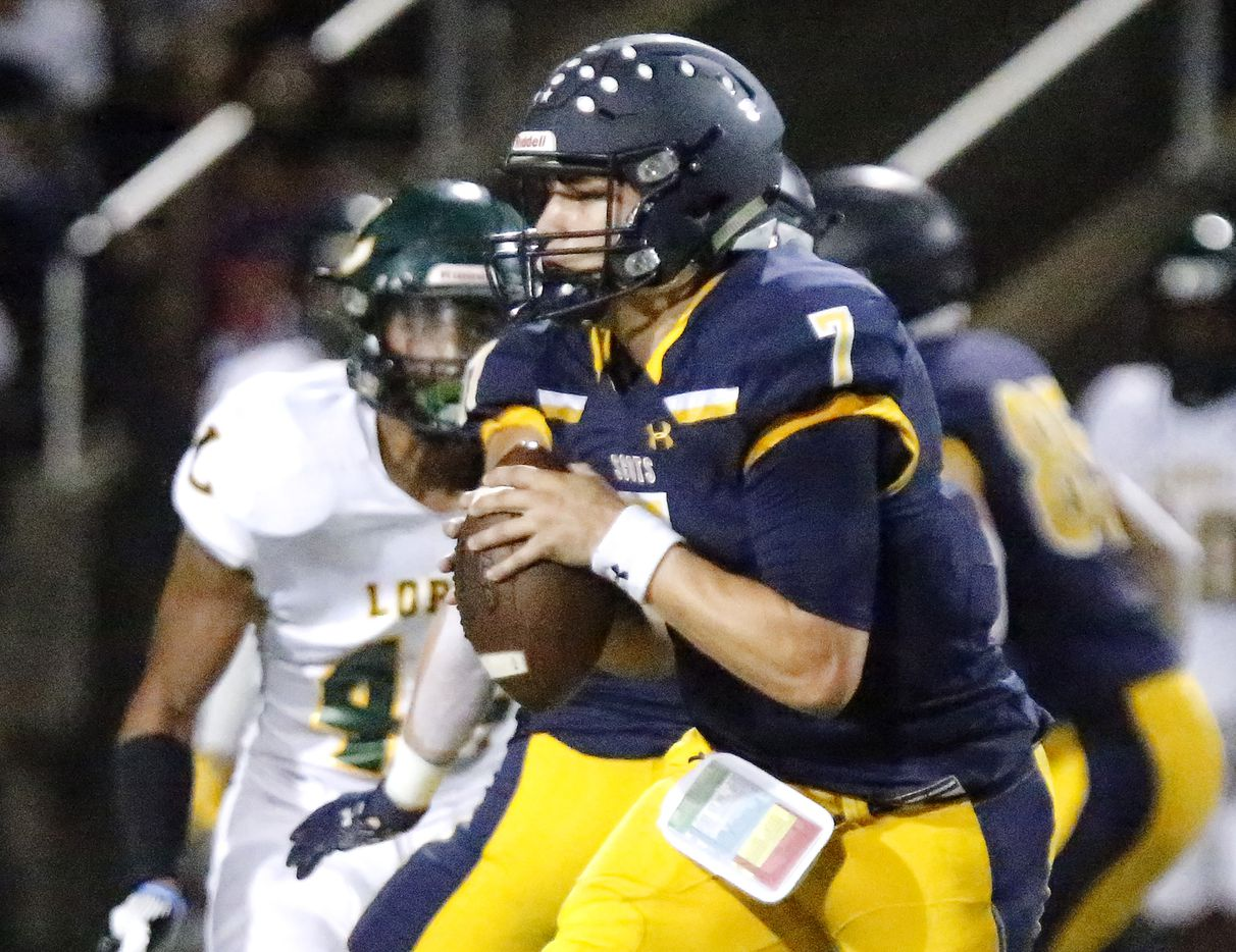 Highland Park High School quarterback Brennan Storer (7) prepares to throw a pass during the second half as Highland Park High School hosted Longview High School at Highlander Stadium in Dallas on Friday night, October 8, 2021. (Stewart F. House/Special Contributor)