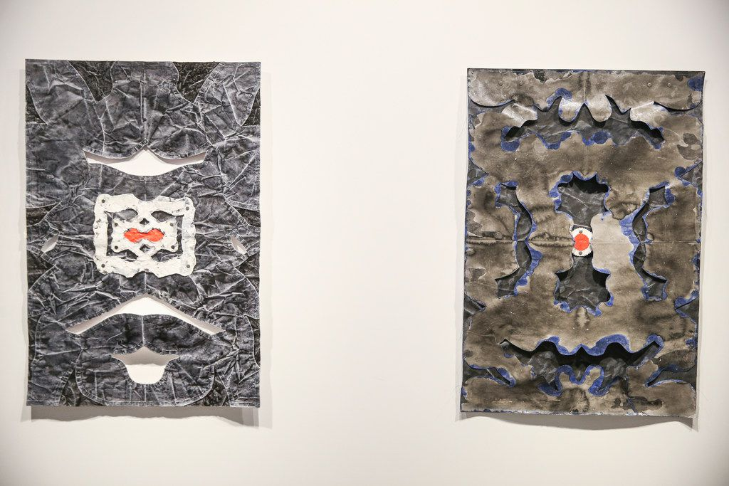 Constructed paper works Serpentine (left) and Blue Flame by artist Leslie Martinez