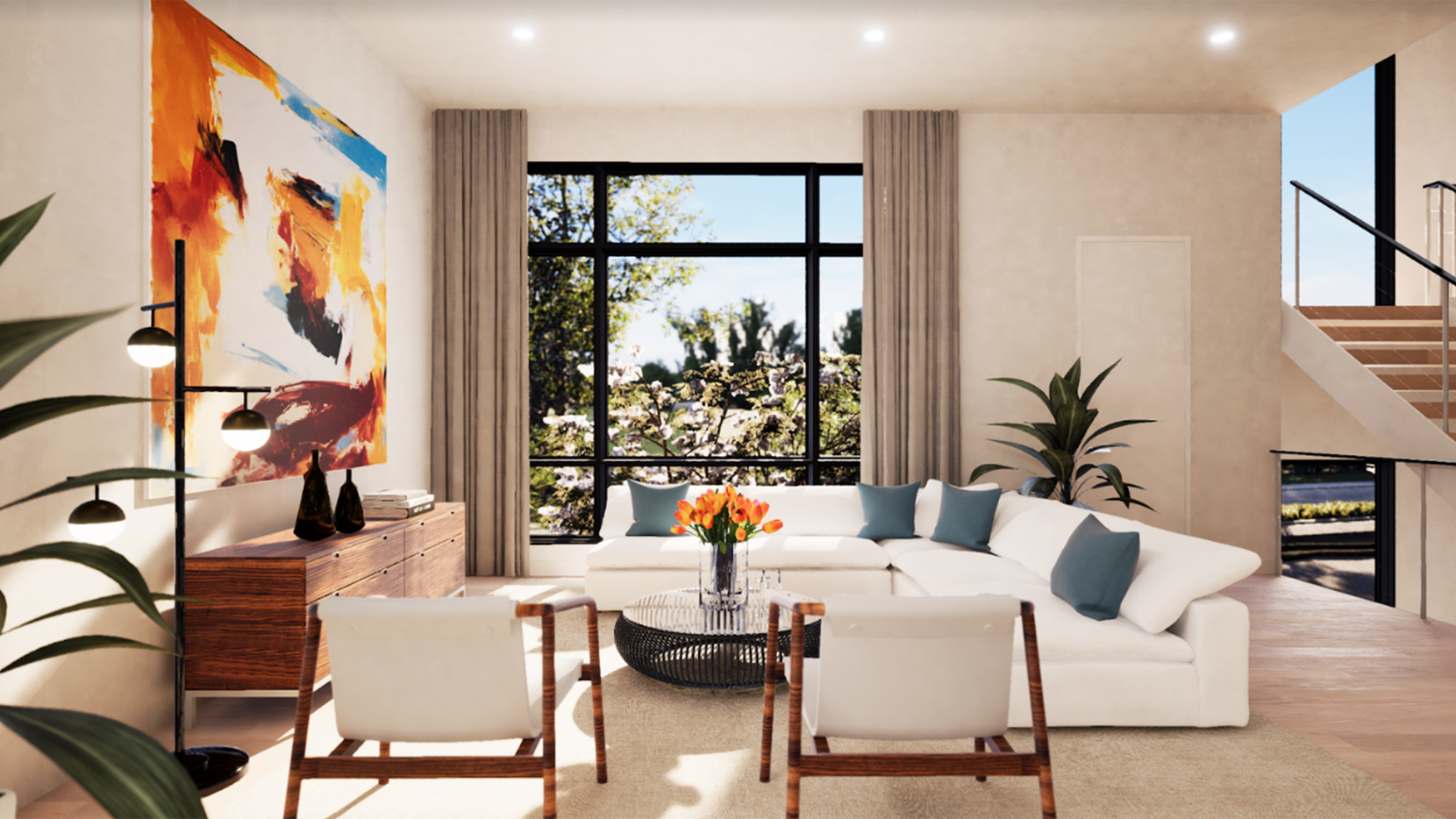 Townhomes at the Kessler West community offer abundant natural light from large windows on each floor and custom art lighting throughout.