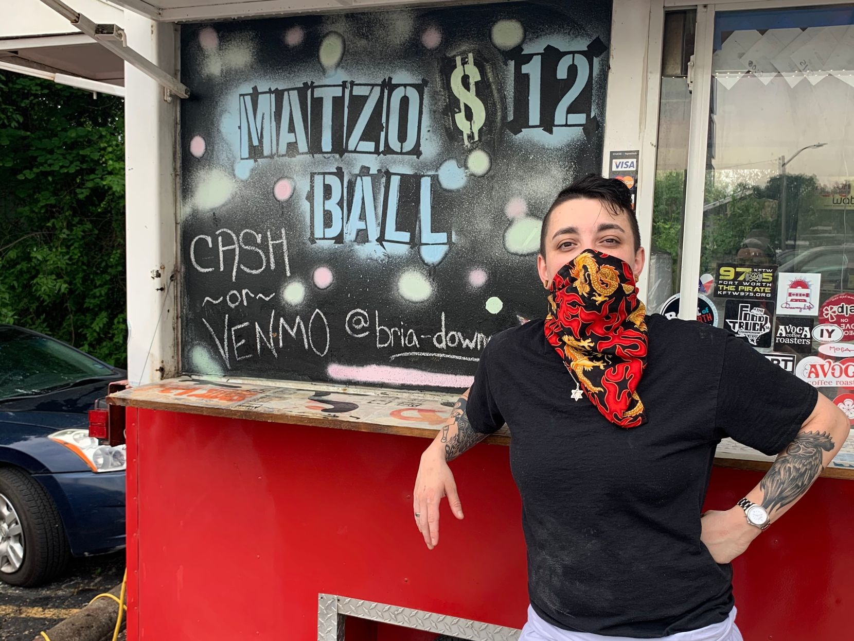 Bria Downey is serving matzo ball soup at a ramen food truck in Fort Worth.