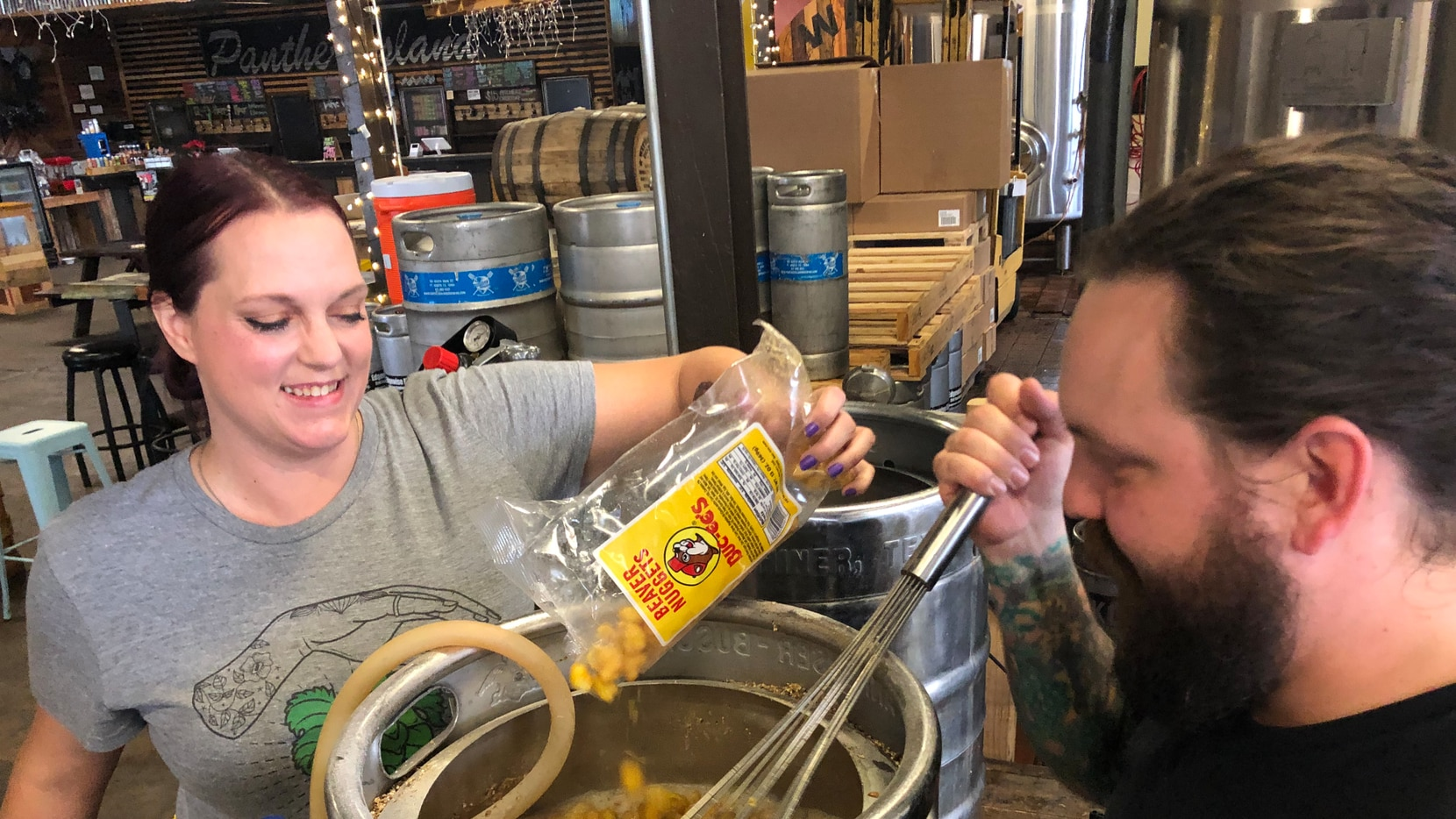 "Sandra DiPretore and Ryan McWhorter of Panther Island Brewing in Fort Worth mixed Buc-ee's Beaver Nuggets into a brown ale in early 2020. ""We really like Beaver Nuggets and we were sitting around eating them and thought, 'Why don't we put this in beer?'"""