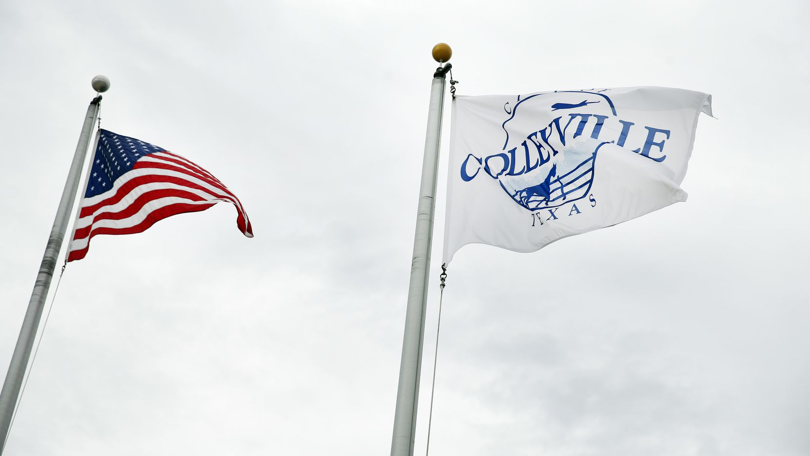 A City of Colleyville flags flies at the Colleyville Justice Center in Colleyville, Texas, Tuesday, June 23, 2020. (Tom Fox/The Dallas Morning News)