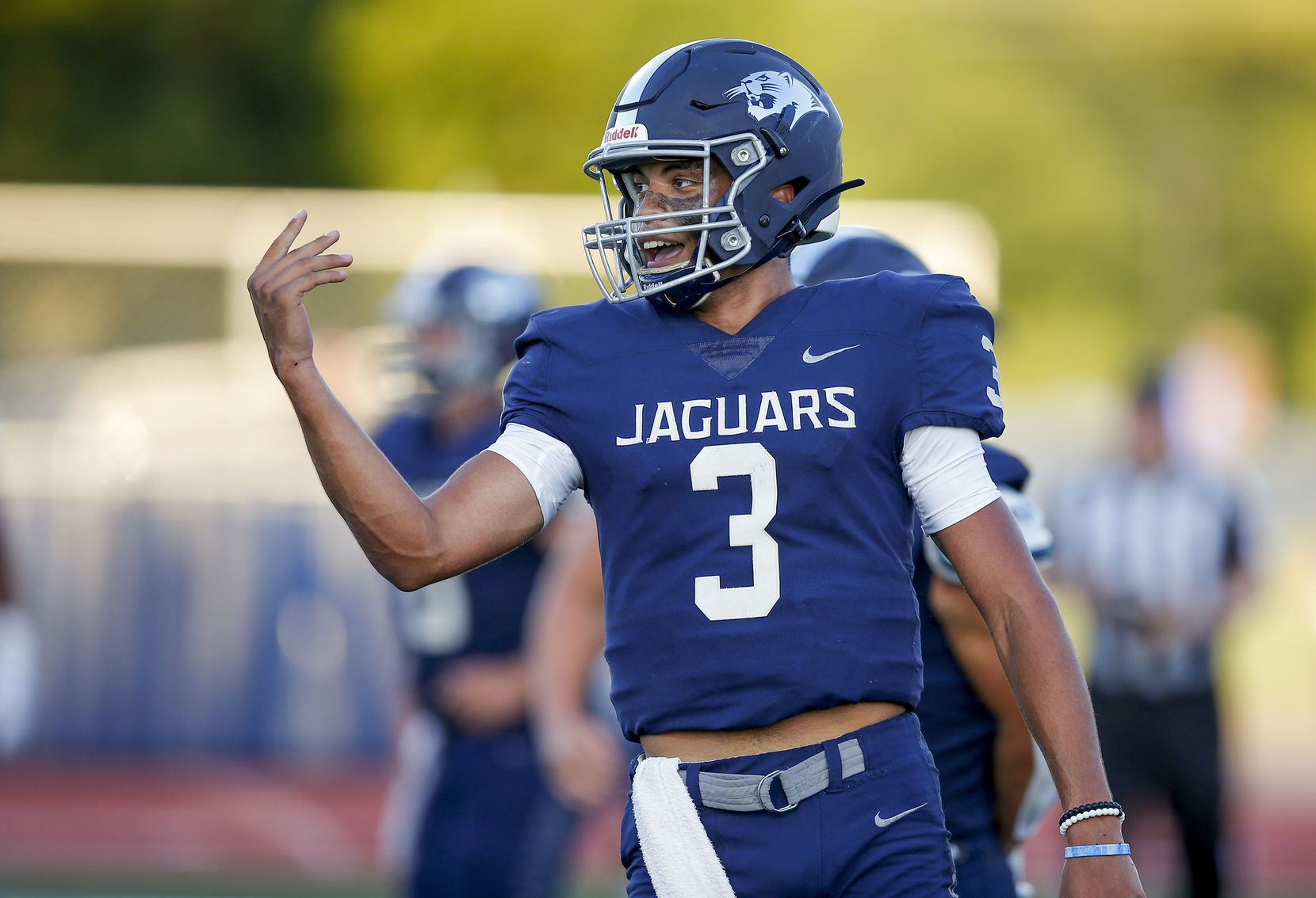 Flower Mound senior quarterback Nick Evers (3) celebrates scoring a touchdown during the first half of a high school football game against Mesquite at Flower Mound High School, Friday, August 27, 2021. (Brandon Wade/Special Contributor)