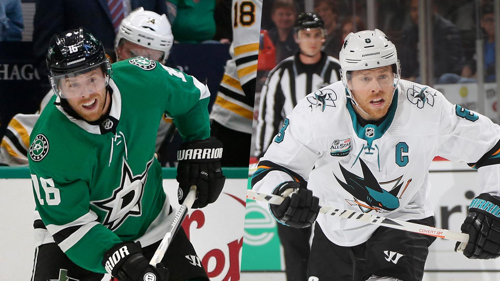 Joe Pavelski with the Dallas Stars (left, 2019) and the San Jose Sharks (right, 2018).