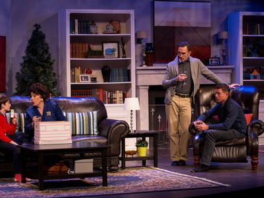 "From left, Alex Prejean, Marjorie Hayes, Gregory Lush, and Kevin Moore in Uptown Players' ""Mothers and Son"" by Terrence McNally at the Kalita Humphreys Theater, in Dallas. (Photo by Ting Shen/The Dallas Morning News)"