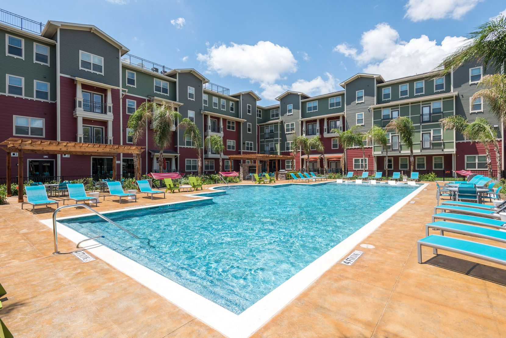 Fountain Residential's project at the University of Houston includes an oversized pool and outdoor gathering areas for students.