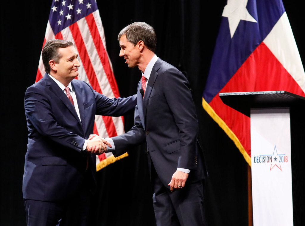Sen. Ted Cruz, R-Texas, and Rep. Beto O'Rourke, D-El Paso, shook hands after a debate at Southern Methodist University on Friday.