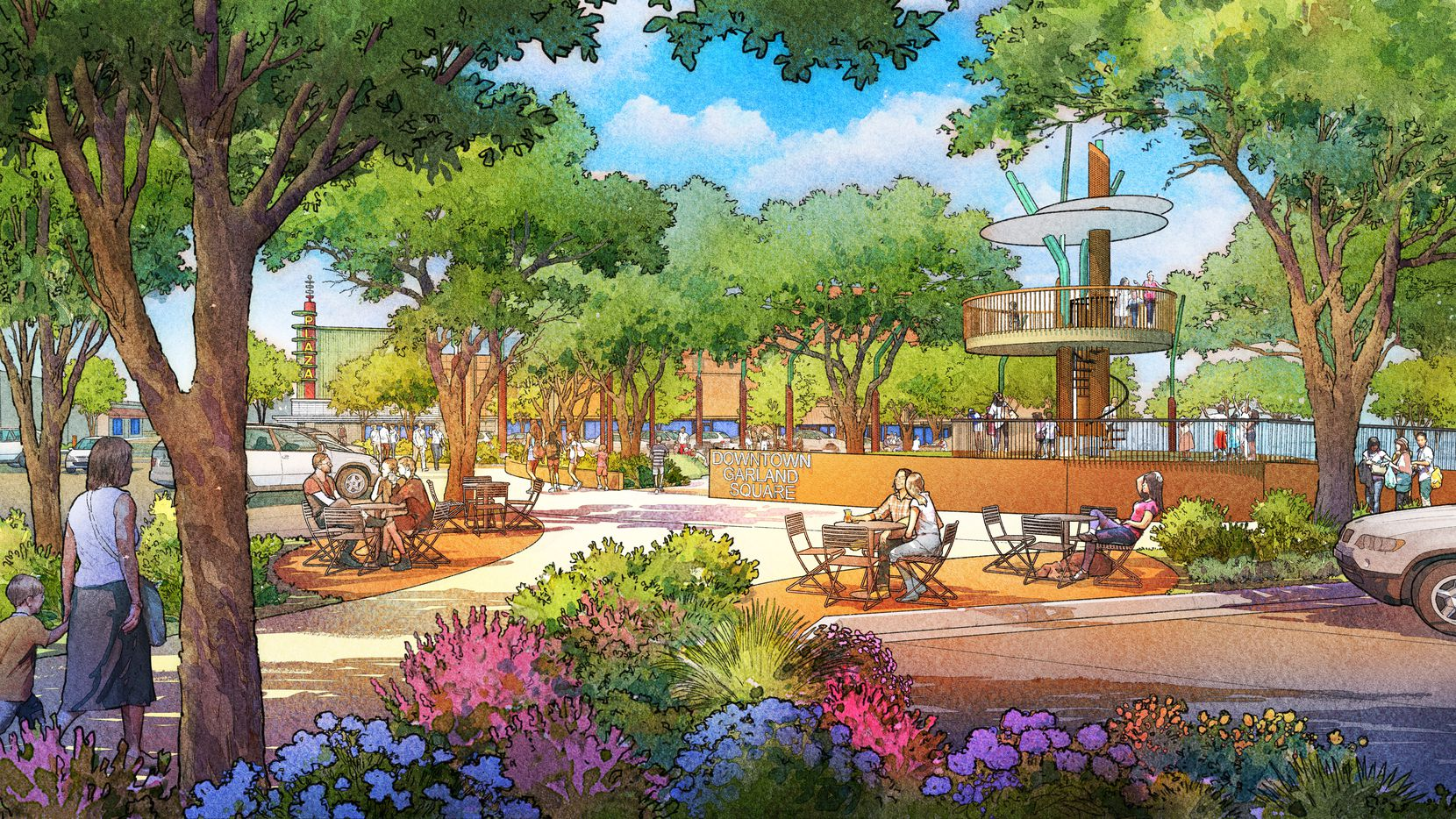 New renderings show how the city of Garland hopes to redevelop its downtown square to include more greenspace and a playground, among other features.