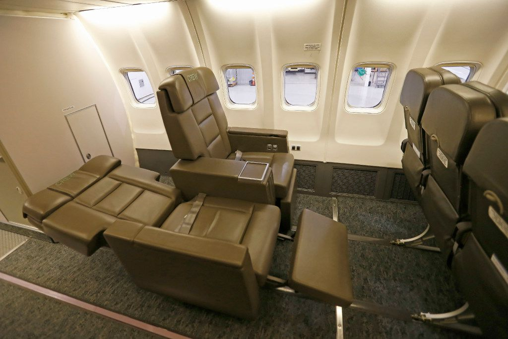 Hillwood's plane sports 34 leather seats with plenty of legroom, a meeting area with tables and in-flight Wi-Fi.