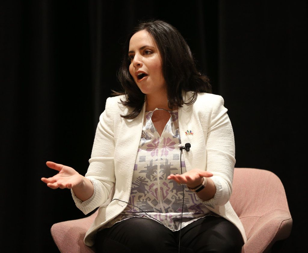"""Luisa del Rosal, executive director of SMU's Tower Center for Political Studies, speaks during a discussion with Dallas Morning News journalist Alfredo Corchado at """"Duets"""" on Monday, June 11, 2018."""