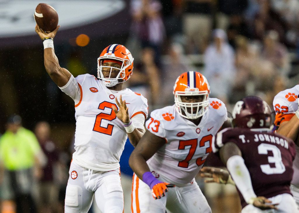 Clemson Tigers quarterback Kelly Bryant (2) throws a pass during the second quarter of a college football game between the Clemson Tigers and the Texas A&M Aggies on Saturday, September 8, 2018 at Kyle Field in College Station, Texas. (Ashley Landis/The Dallas Morning News)