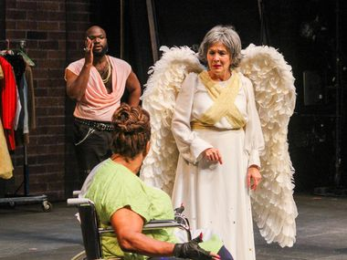 """From left, Bradley Atuba, Liz Mikel and Sally Nystuen Vahle in Dallas Theater Center's production of """"Cake Ladies,"""" a new comedy by Jonathan Norton about the troubles surrounding a small Texas town's first AIDSFest."""