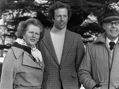 In 1982, Mark Thatcher stands nexts to his mother, British Prime Minister Margaret Thatcher, and father Denis Thatcher.